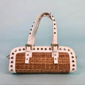 Fendi leather studded straw bag